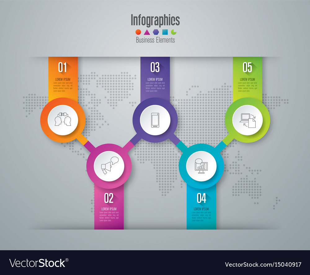 Infographics design with 5 options