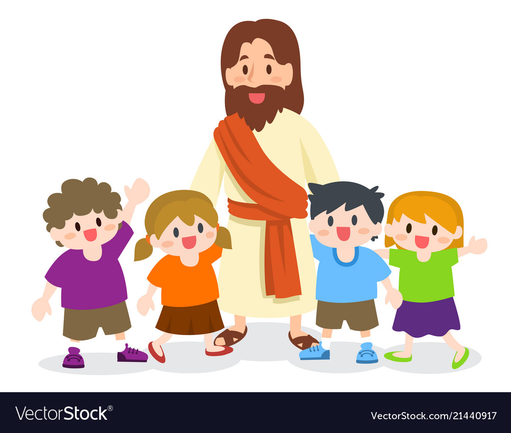 Jesus christ with group of children Royalty Free Vector