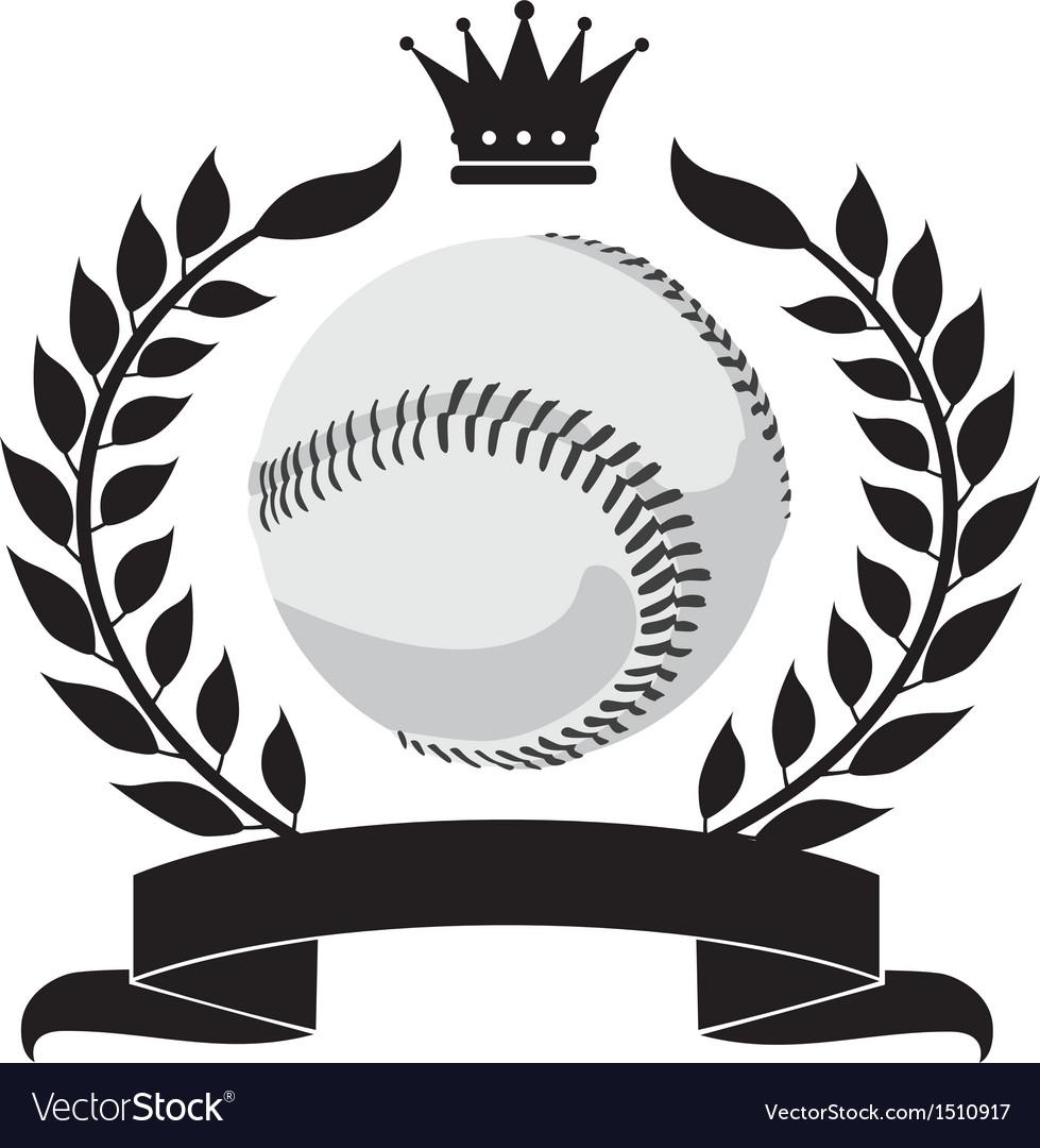 Logo with a wreath and a baseball