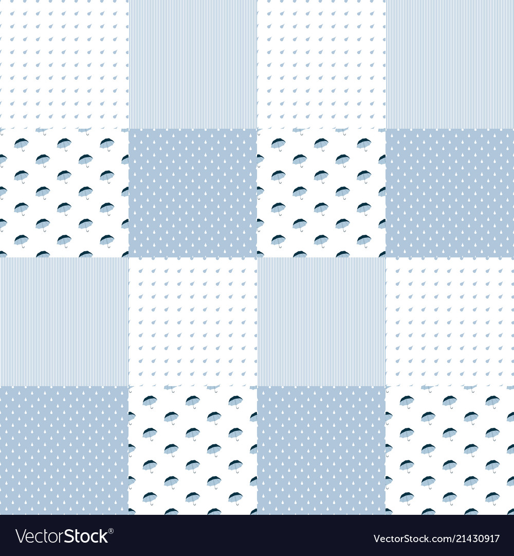 Patchwork pattern in blue colors