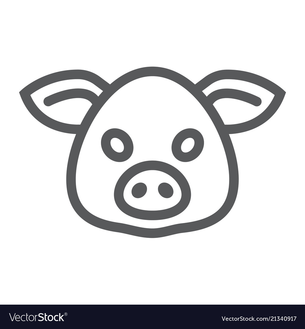 Pig line icon animal and zoo pork