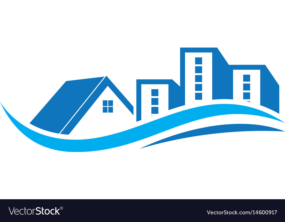 real estate with swirl logo design template vector image