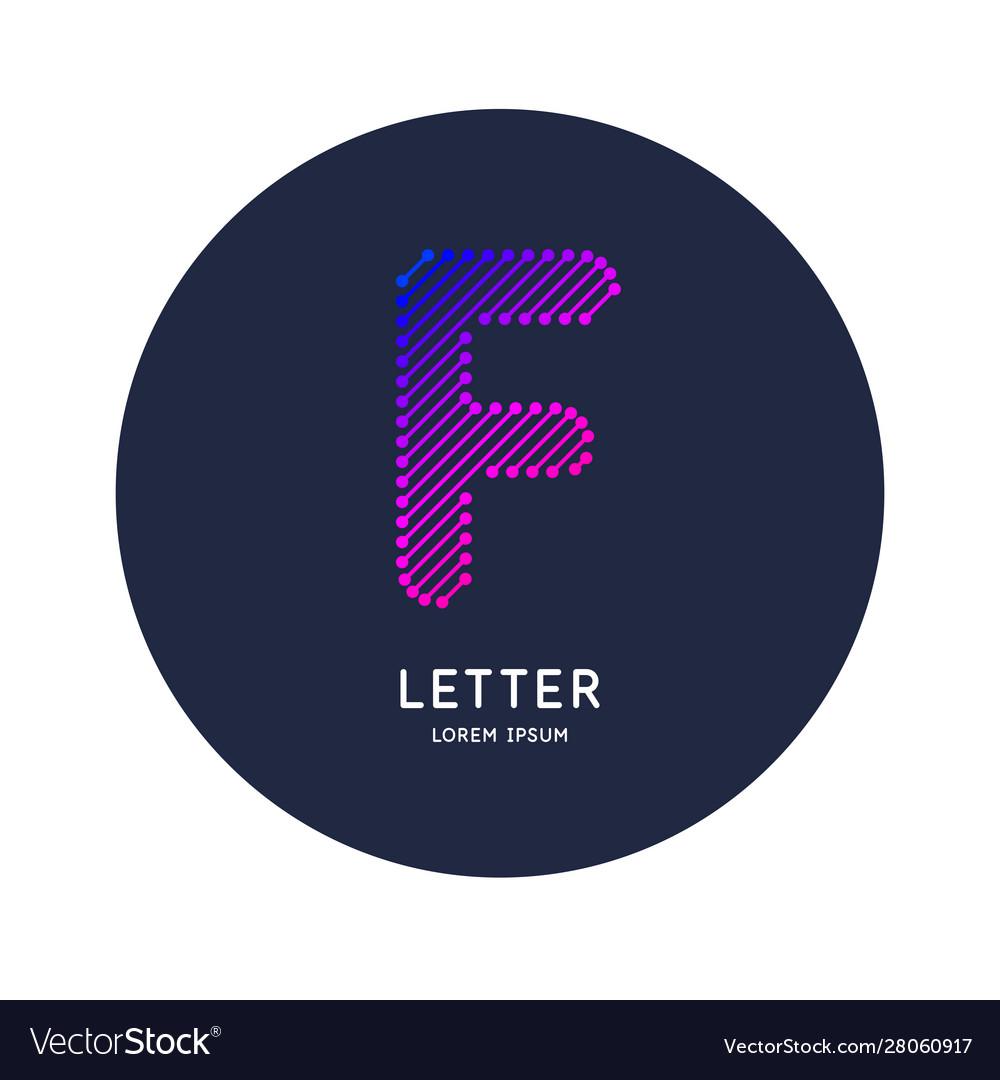 The letter f latin alphabet display