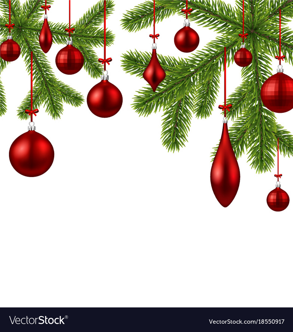 White Background With Red Christmas Balls