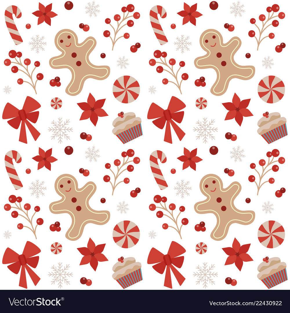Christmas seamless pattern with gingerbread man