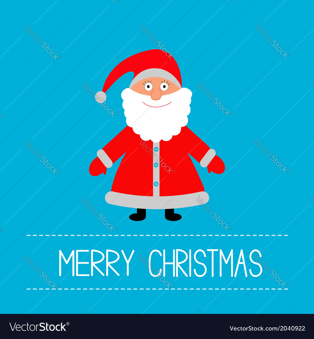 Cute Santa Claus Blue Background Merry Christmas