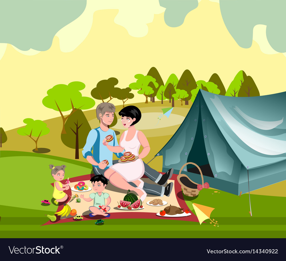 Family in nature with a tent