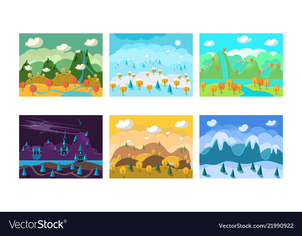 Flat set of landscapes with different