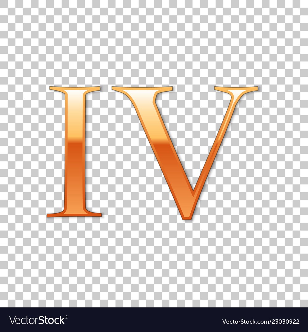 Golden roman numeral number 4 iv four in Vector Image