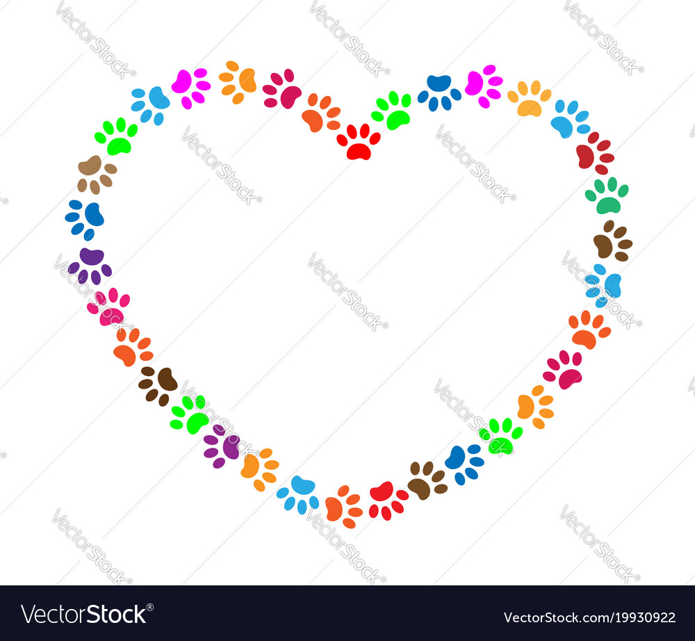 Heart frame of multicolored animal paw prints vector image
