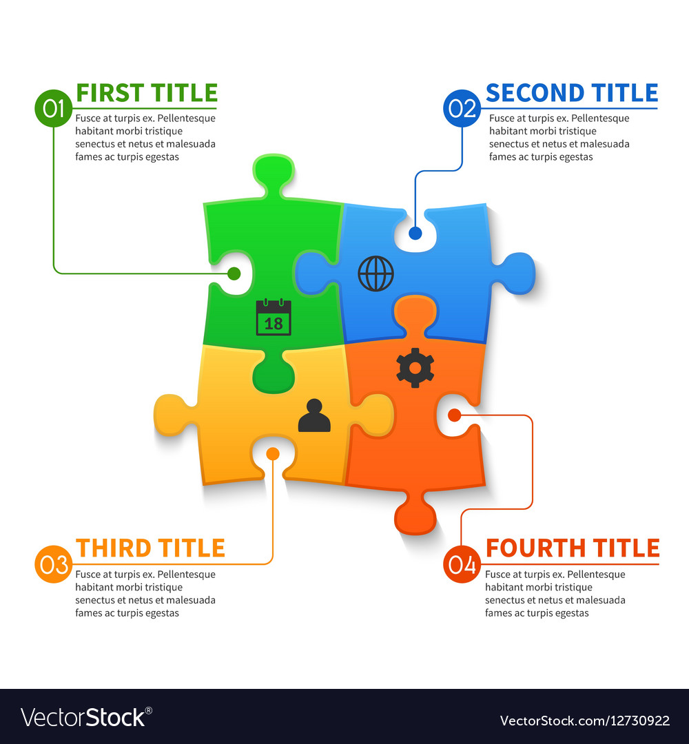 Jigsaw puzzle pieces infographic business