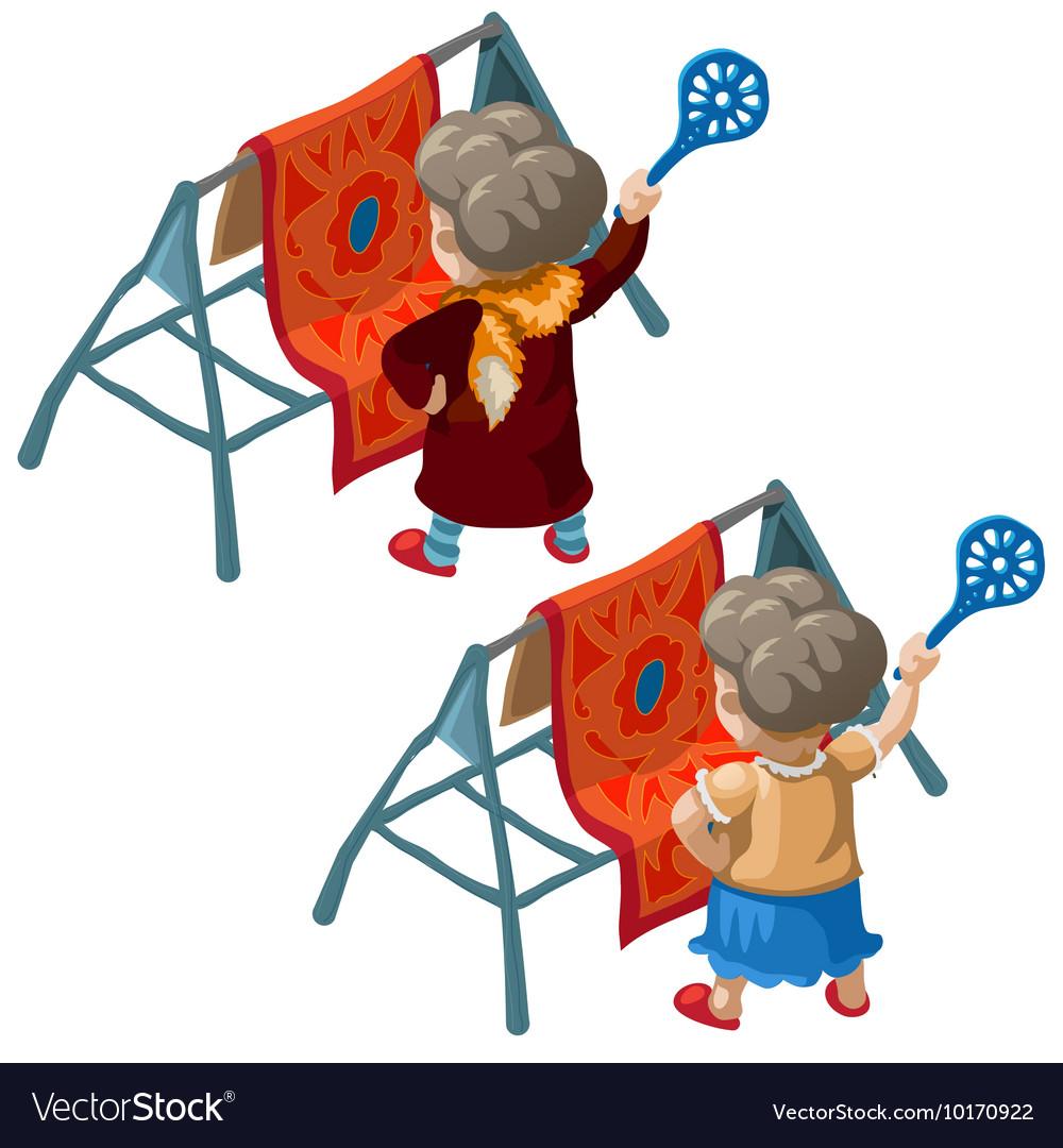 Landlady knocks dust out of carpet