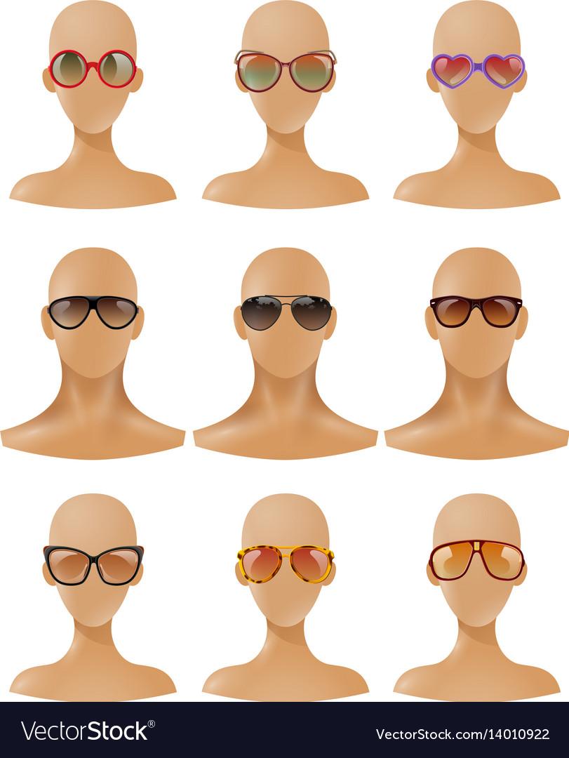 Mannequins heads display sunglasses realistic set
