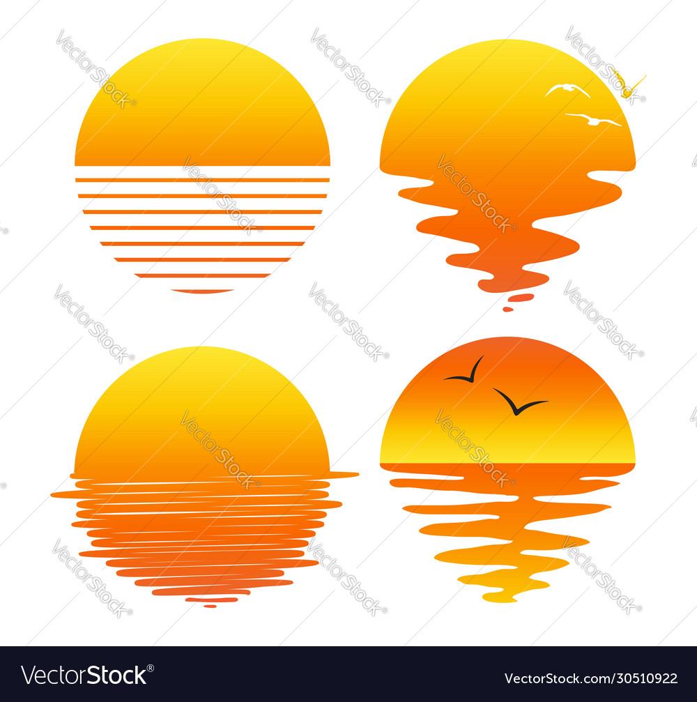 Set flat symbols sunsets and sunrises