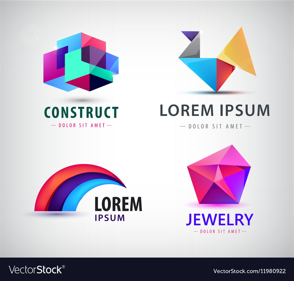 Set of colorful abstract logos Design