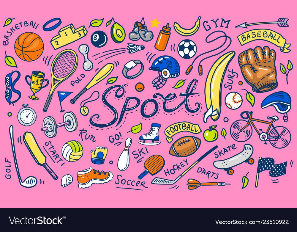 Set of sport icons doodle style equipment for
