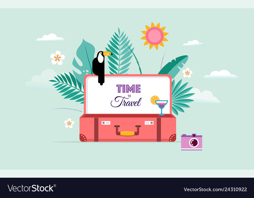 Travel and tourism concept design with open