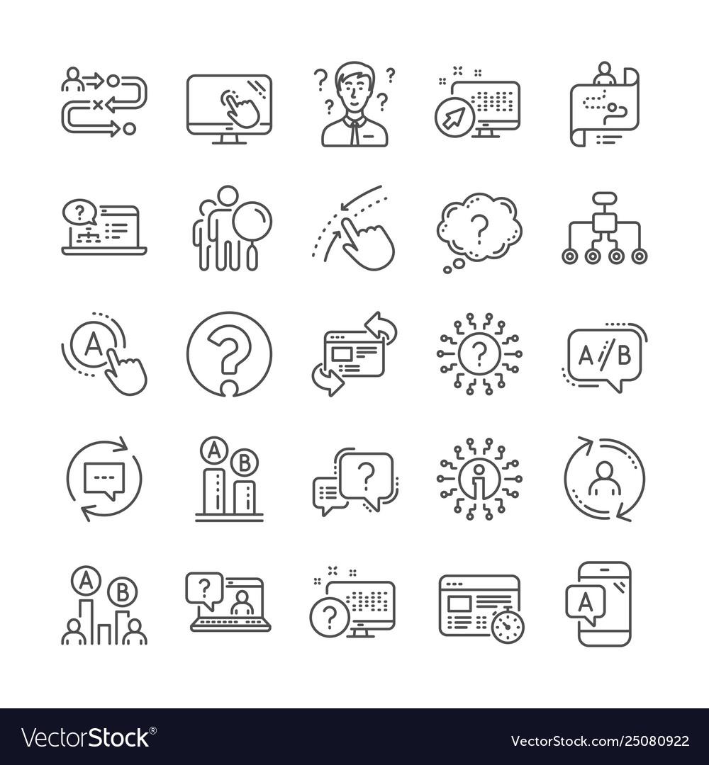 Ux line icons set ab testing journey path map