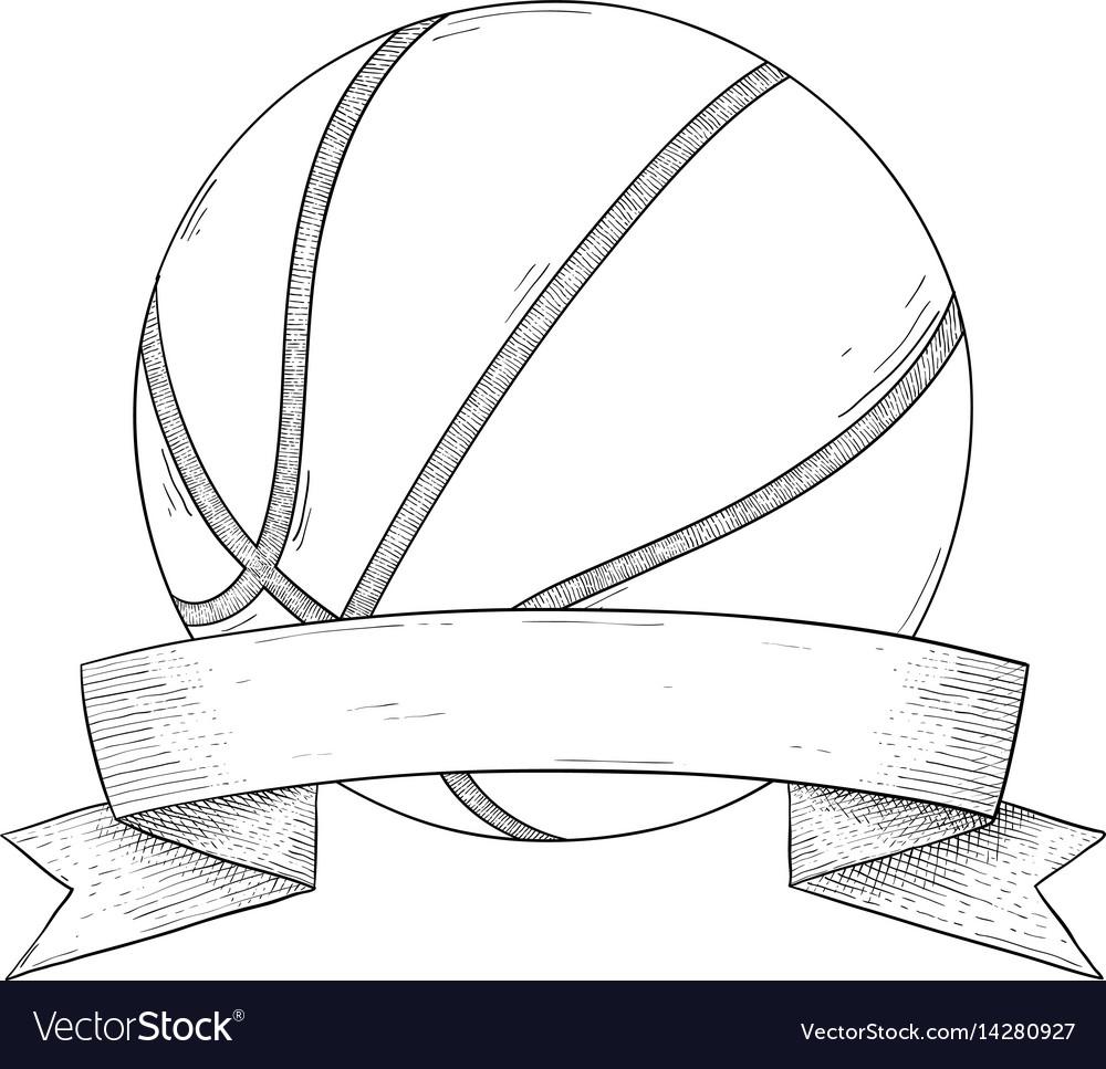 Basketball ball with ribbon banner hand drawn
