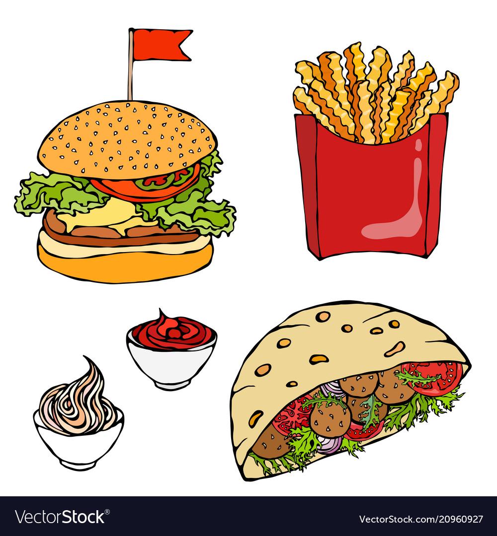 Burger french fries ketchup falafel pita or