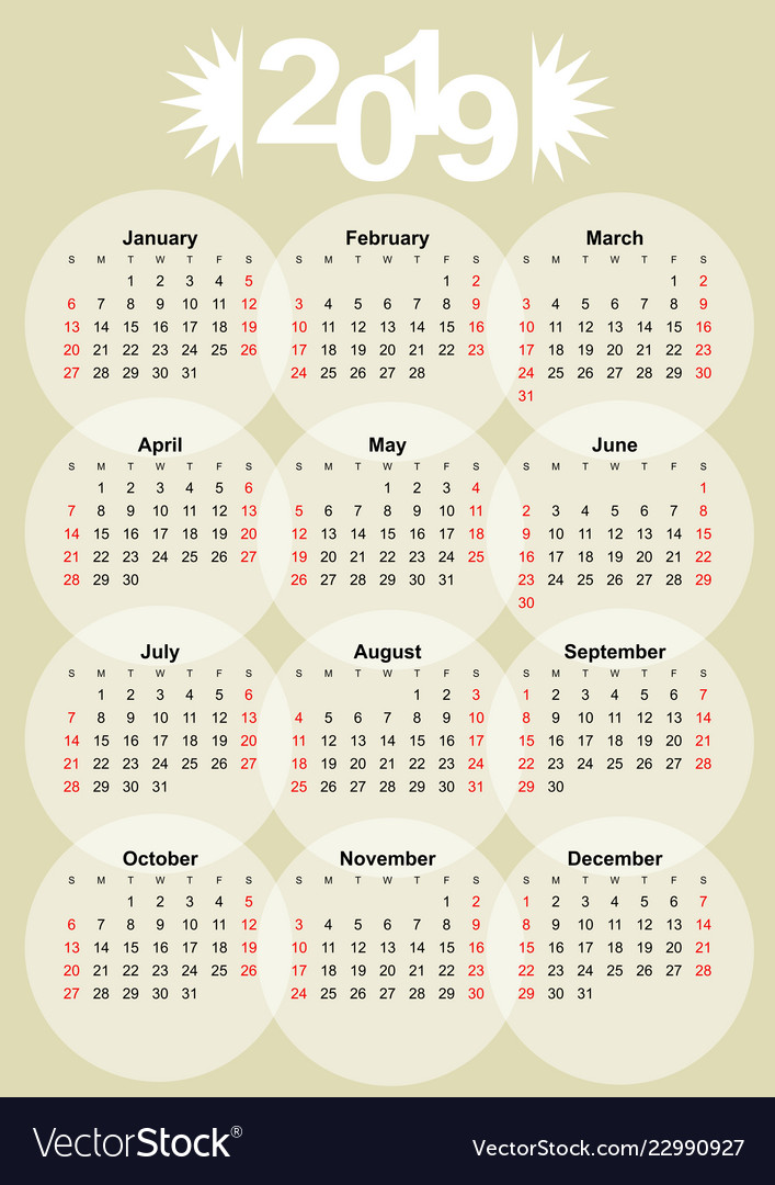 Calendar 2019 on old paper background month in