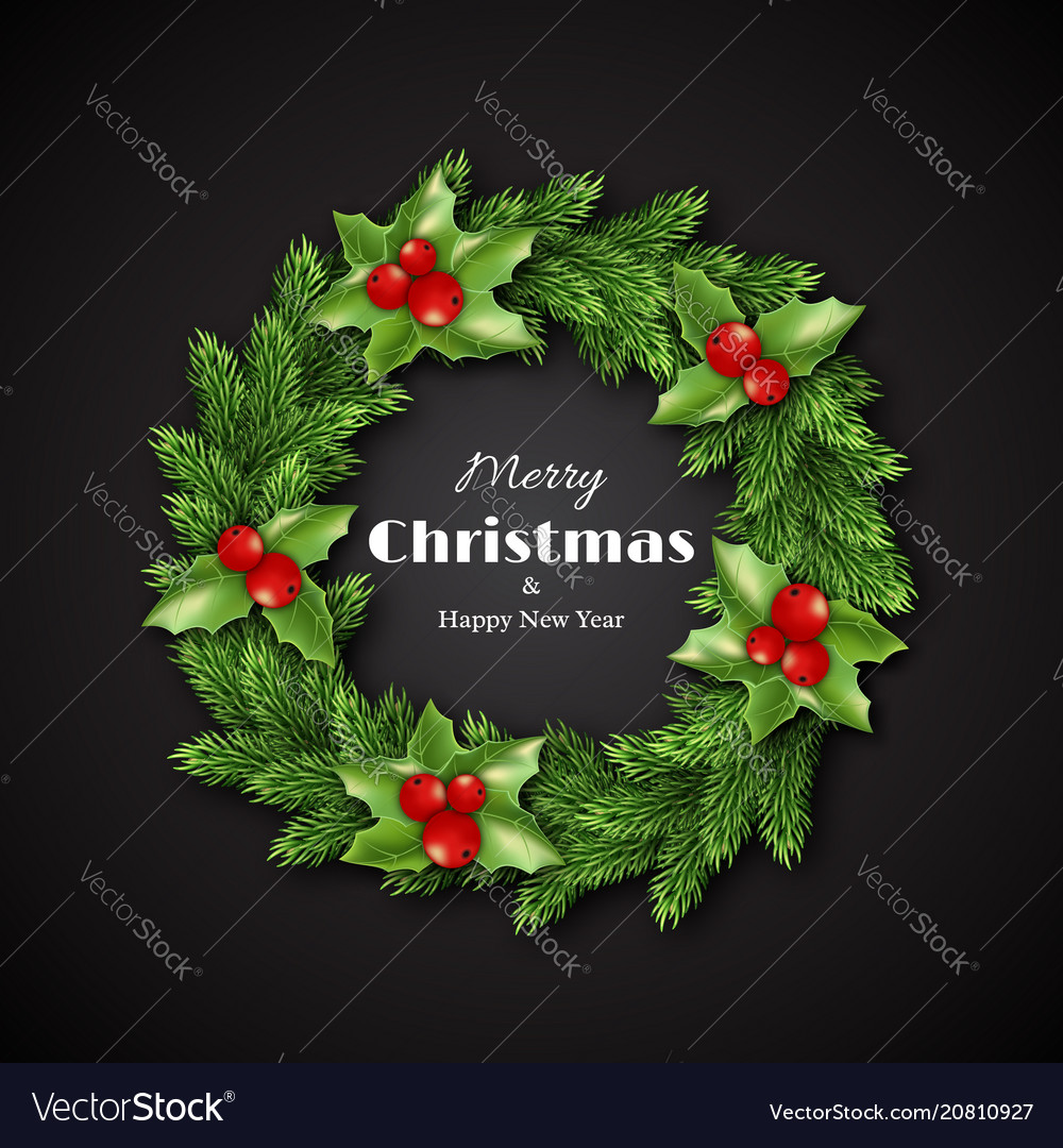 Christmas wreath with holly merry