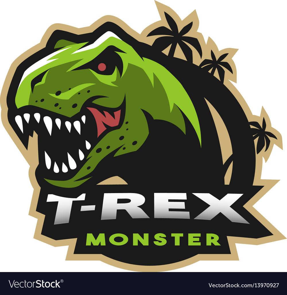 Dinosaur head logo emblem t-rex monster