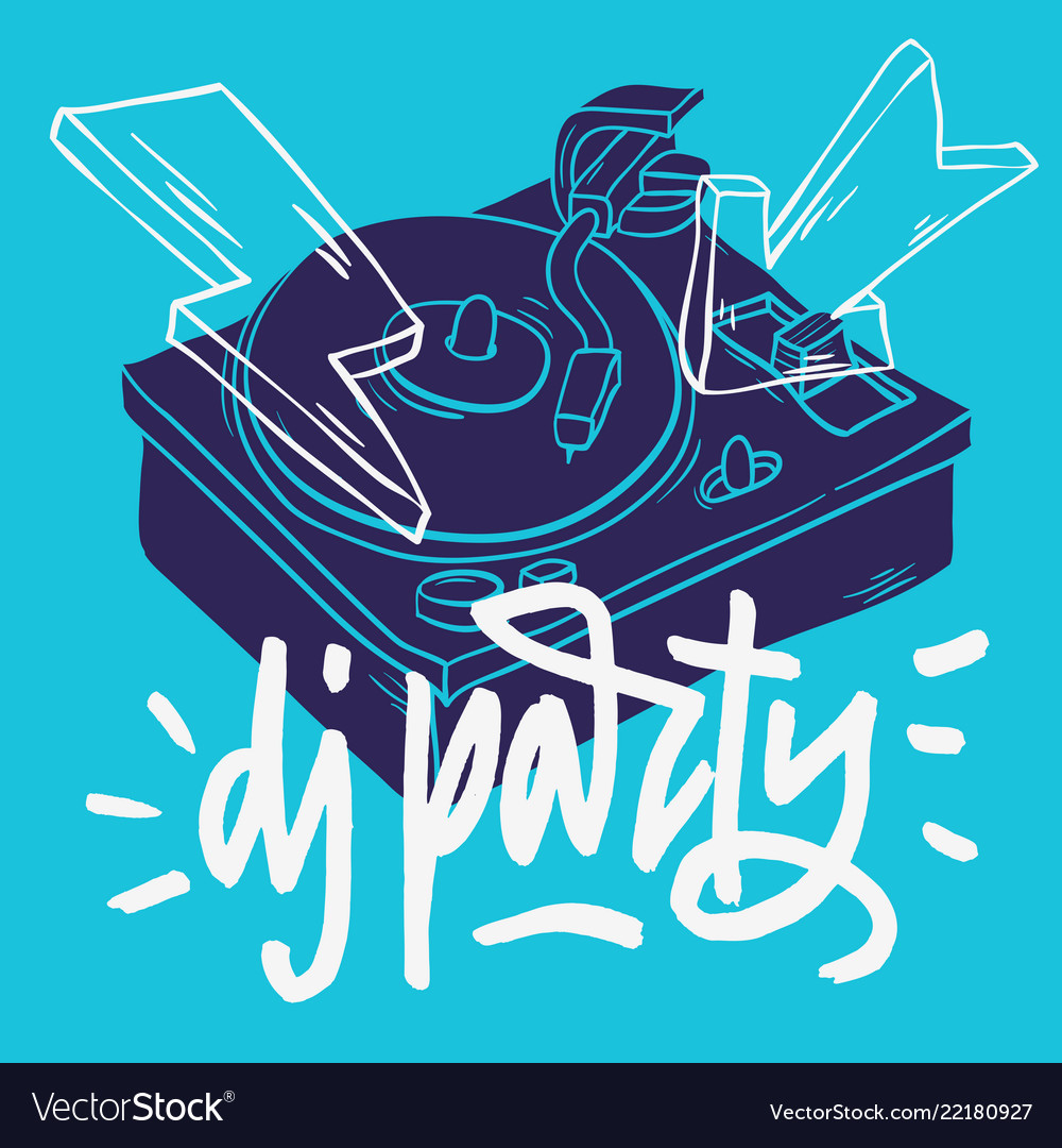 Dj party poster design with a turntable and hand