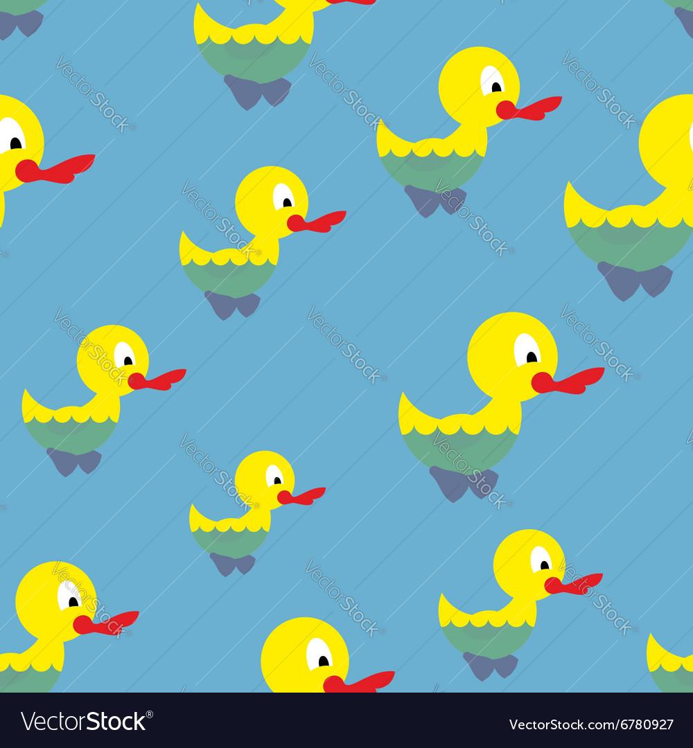 Ducks swim in pond seamless pattern Waterbird in