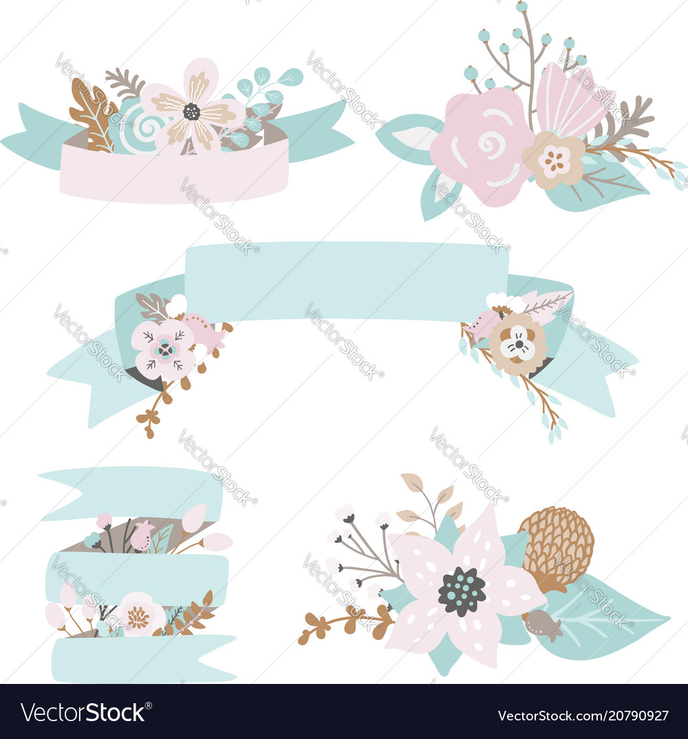 Floral doodles leaves branches flowers ribbons