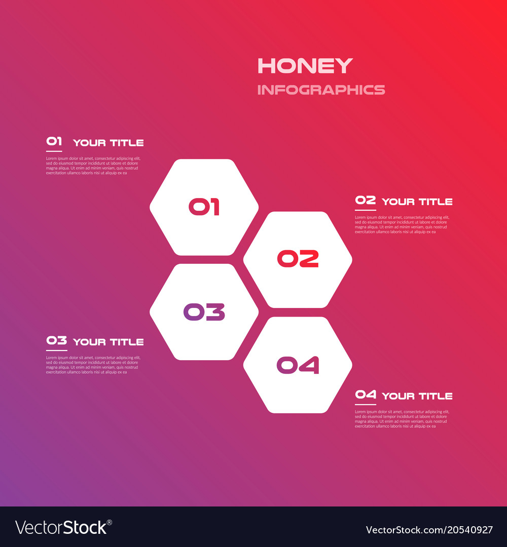 Honeycombs gradient infographics step by step