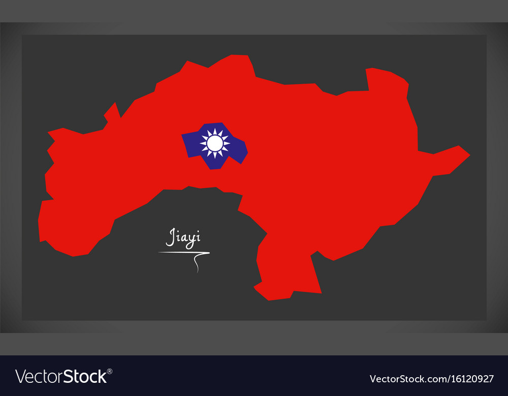 Jiayi taiwan map with taiwanese national flag