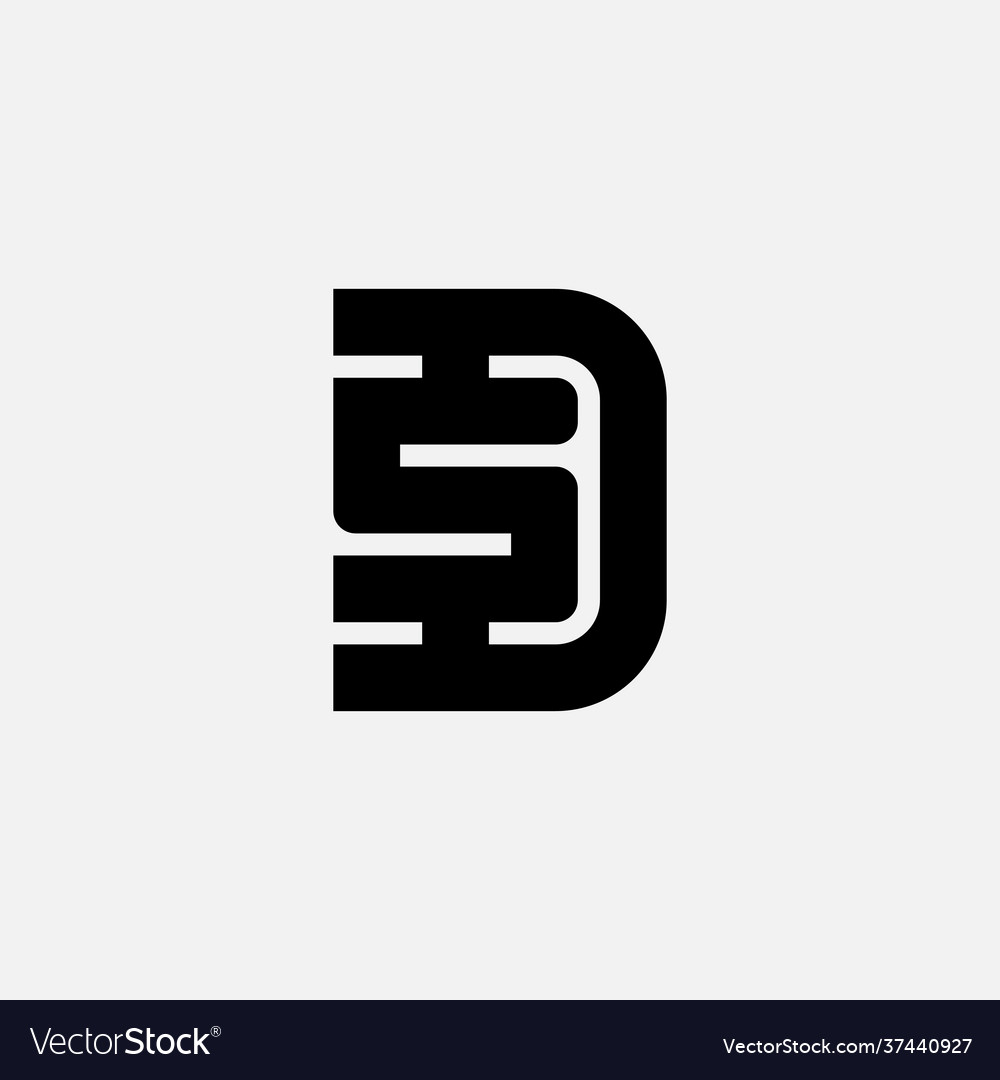 Letter d and s logo design minimalistic symbol