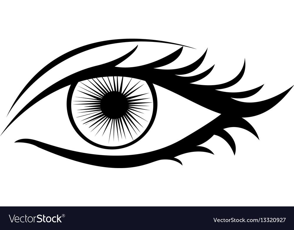 monochrome silhouette with female eye royalty free vector rh vectorstock com eye vector icon eye vector free download
