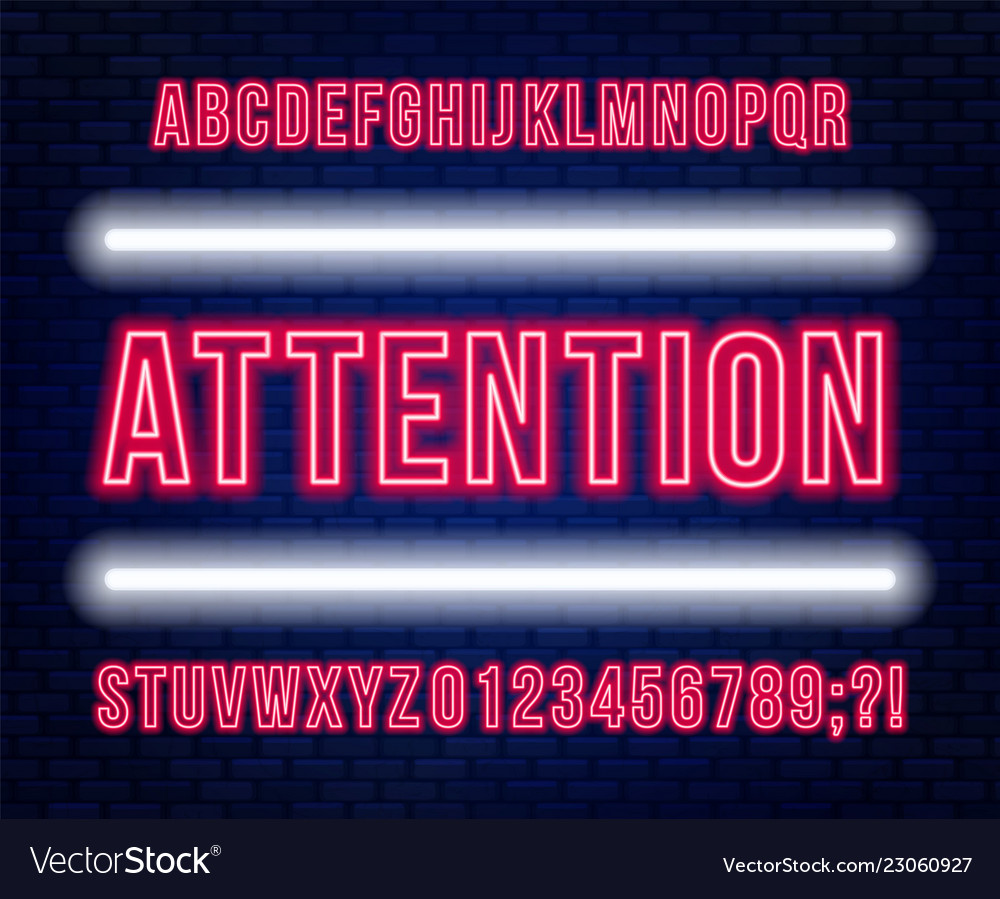 Neon red font bright capital letters with numbers