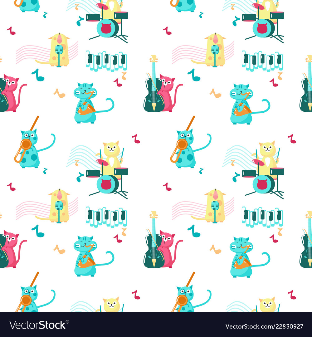 Seamless pattern with cute music cats