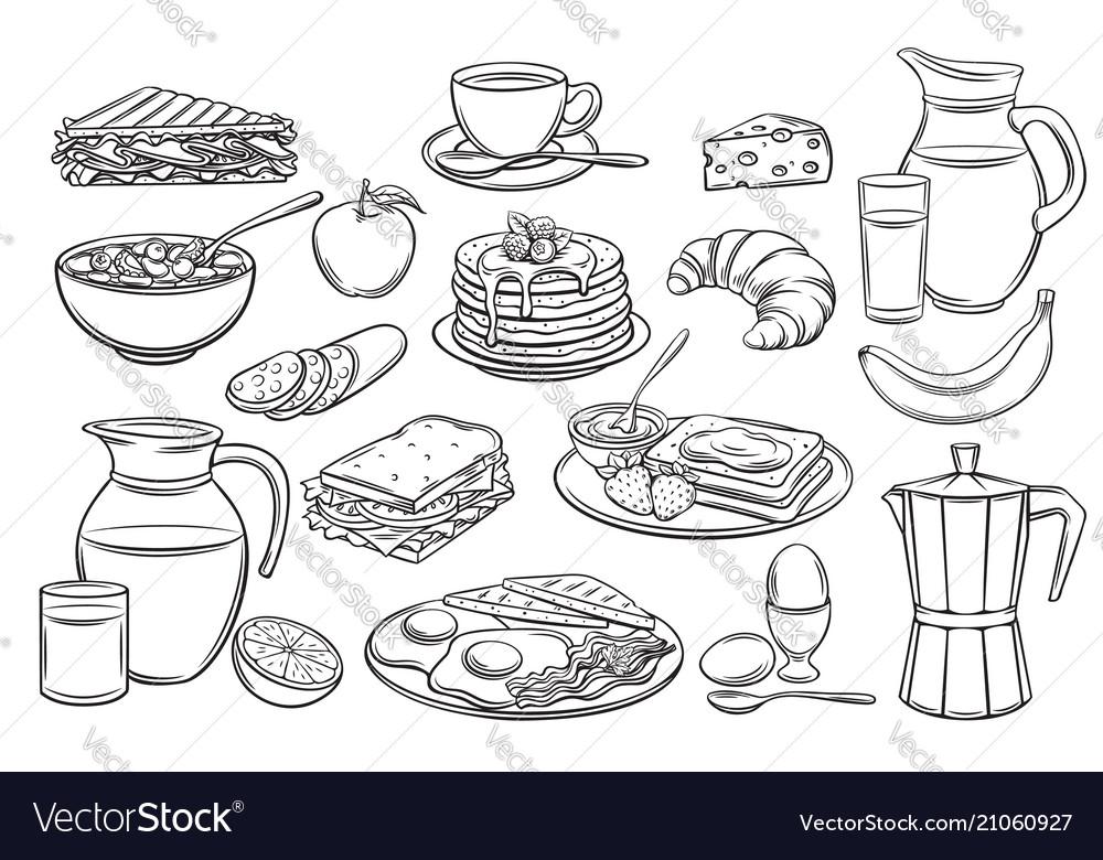 Set breakfast icons