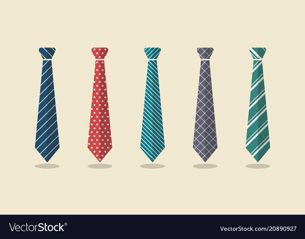 Set of different ties