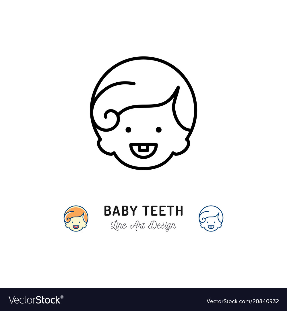 Baby teeth icon little boys with first tooth