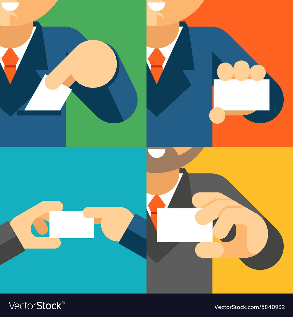 Businessman holding visiting card template in his vector image
