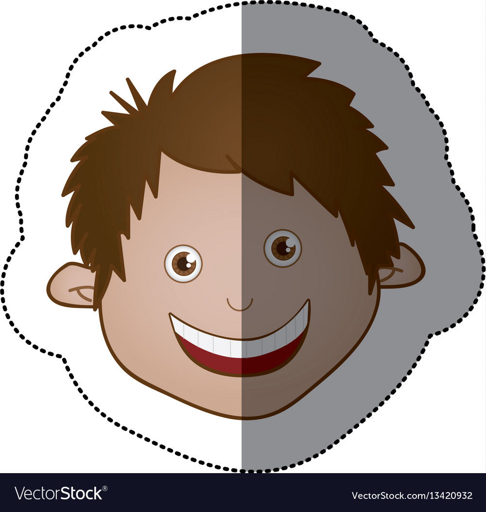 Color sticker face boy icon vector image