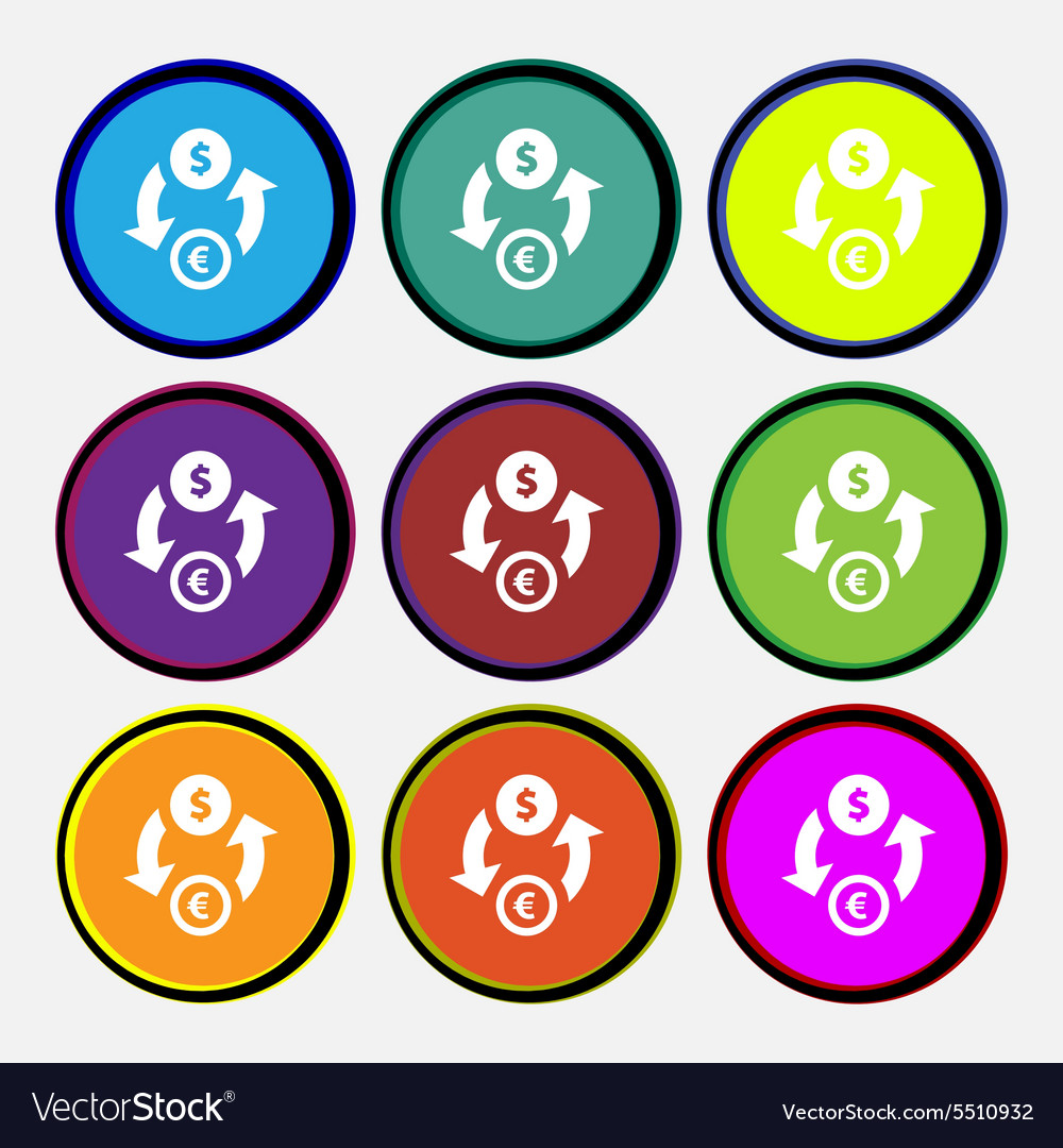 Currency exchange icon sign Nine multi colored
