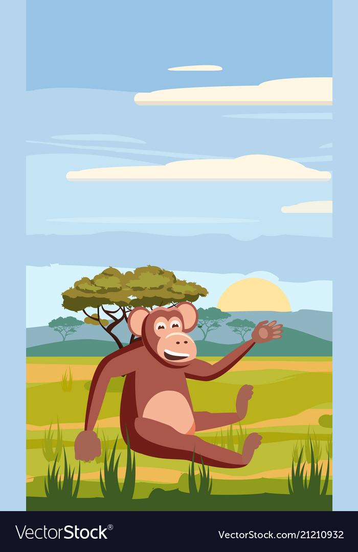 Cute cartoon monkey on background landscape