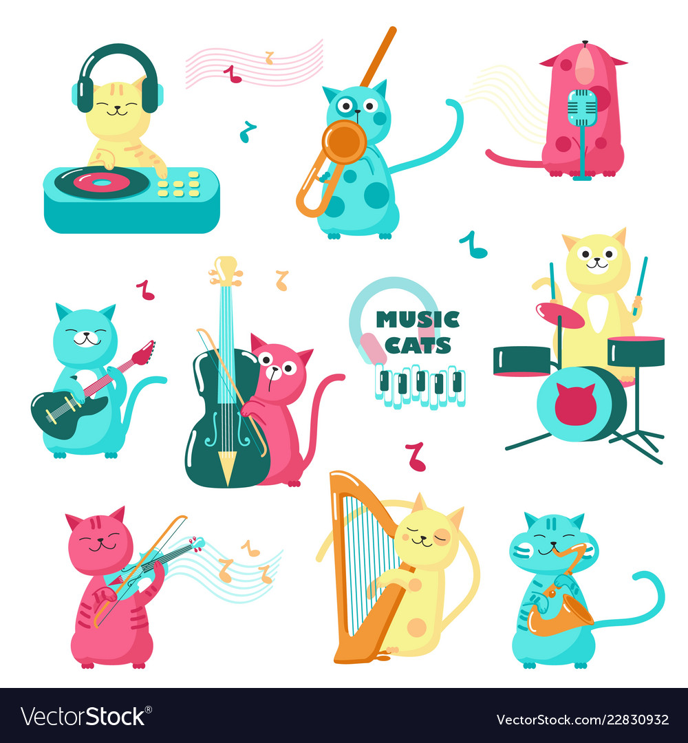 Cute funny music cats isolated