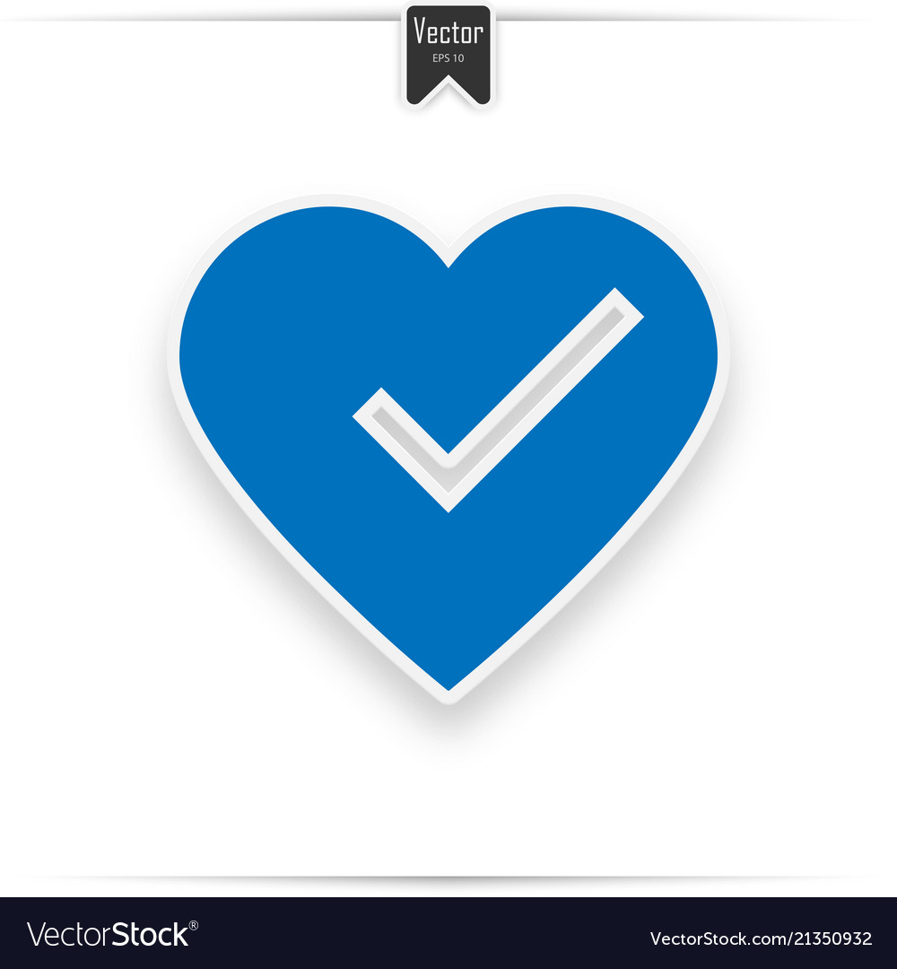 Heart and tick icon in blue color