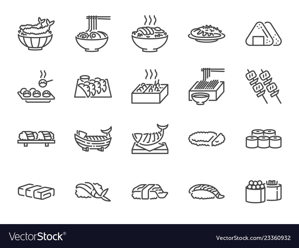 Japanese food line icon set 1