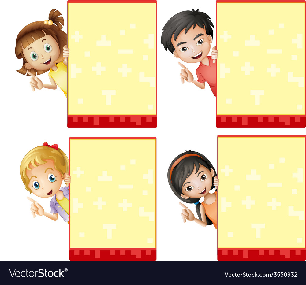 Kids and signs vector image