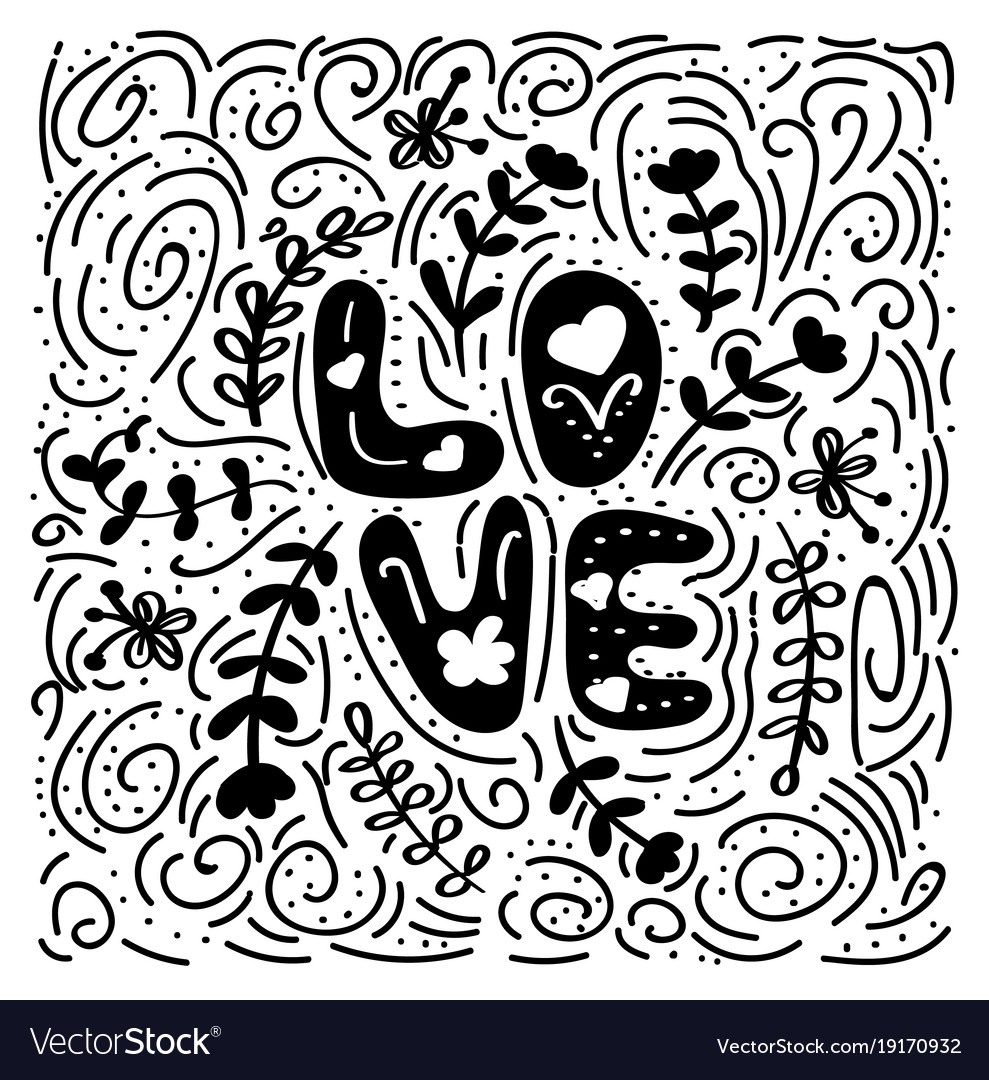 Love - hand drawn romantic quote