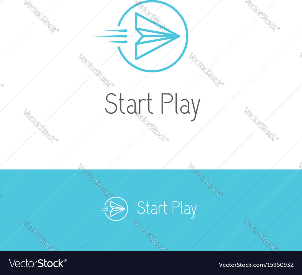 Paper plane looking like a play or start button vector image