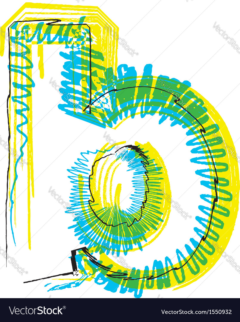 Sketch font Letter b Royalty Free Vector Image